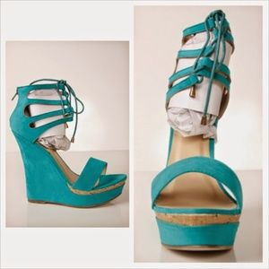 Turquoise tie up wedge heels